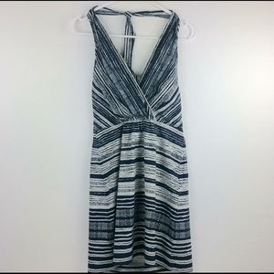 Athleta Go Anywhere blue/white halter dress Sz 4